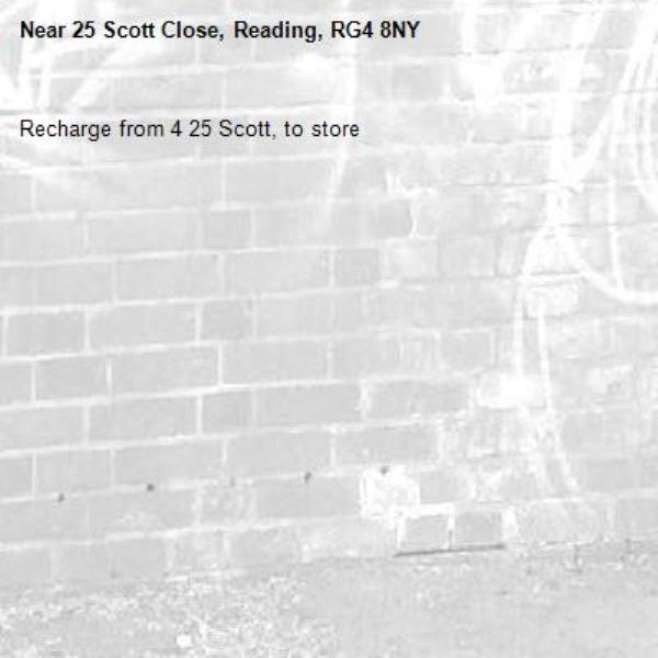 Recharge from 4 25 Scott, to store -25 Scott Close, Reading, RG4 8NY