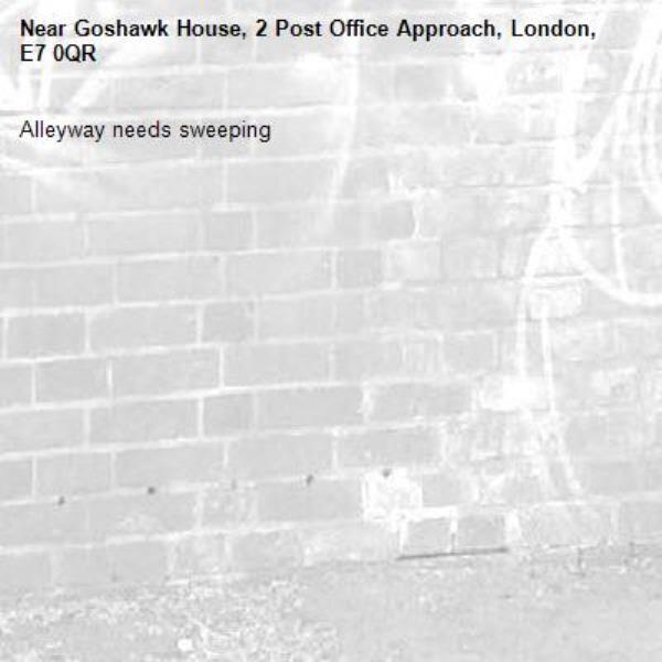 Alleyway needs sweeping-Goshawk House, 2 Post Office Approach, London, E7 0QR