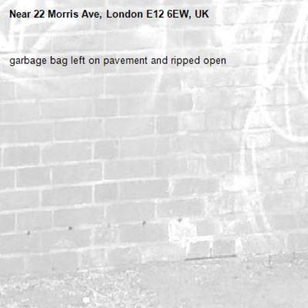 garbage bag left on pavement and ripped open-22 Morris Ave, London E12 6EW, UK