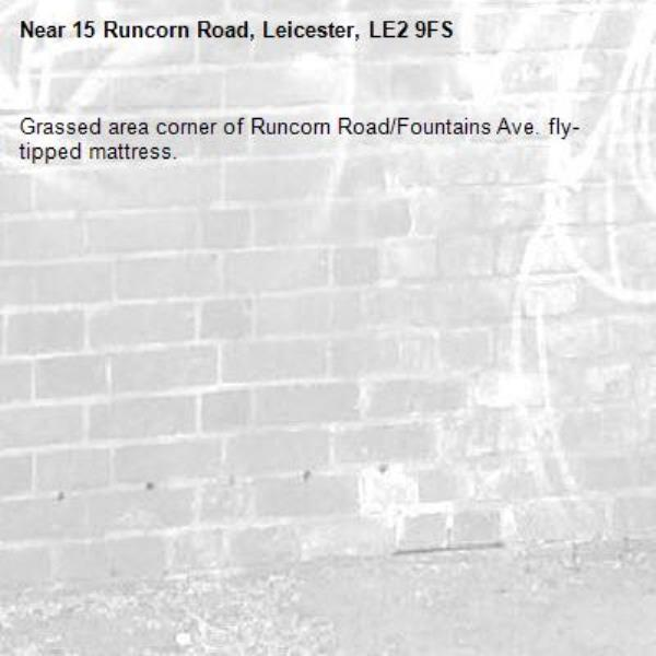 Grassed area corner of Runcorn Road/Fountains Ave. fly-tipped mattress.-15 Runcorn Road, Leicester, LE2 9FS
