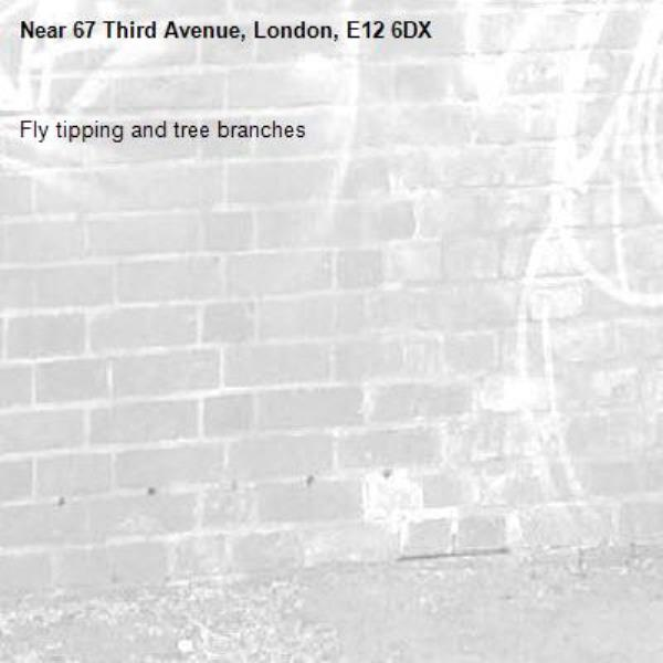 Fly tipping and tree branches -67 Third Avenue, London, E12 6DX