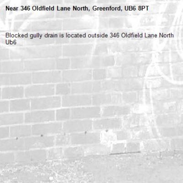 Blocked gully drain is located outside 346 Oldfield Lane North Ub6 -346 Oldfield Lane North, Greenford, UB6 8PT