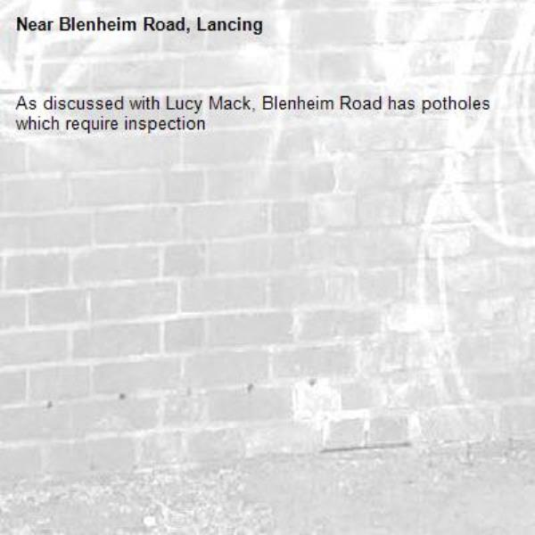 As discussed with Lucy Mack, Blenheim Road has potholes which require inspection-Blenheim Road, Lancing