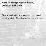 The street will be swept on our next weekly visit. Thankyou for reporting it.-58 Barge House Road, London, E16 2NH