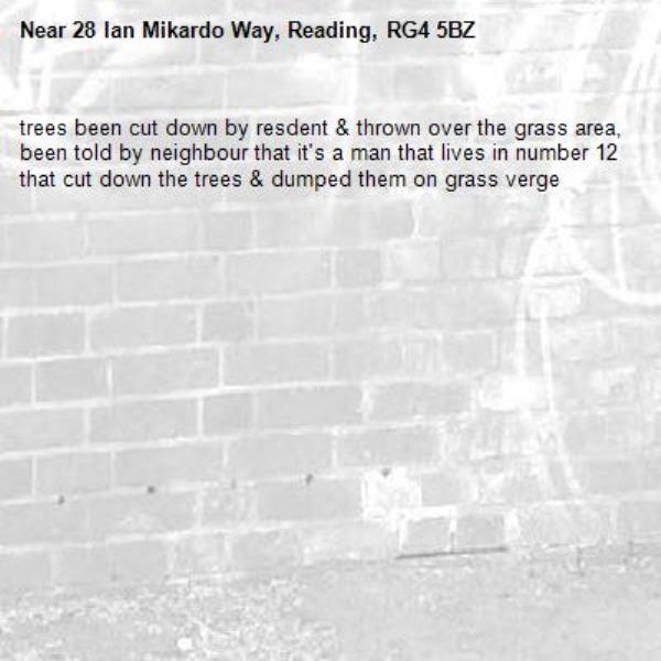 trees been cut down by resdent & thrown over the grass area, been told by neighbour that it's a man that lives in number 12 that cut down the trees & dumped them on grass verge -28 Ian Mikardo Way, Reading, RG4 5BZ