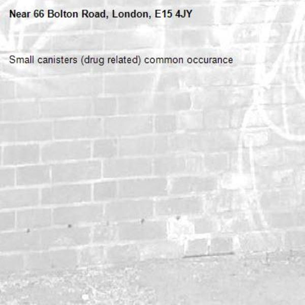 Small canisters (drug related) common occurance-66 Bolton Road, London, E15 4JY