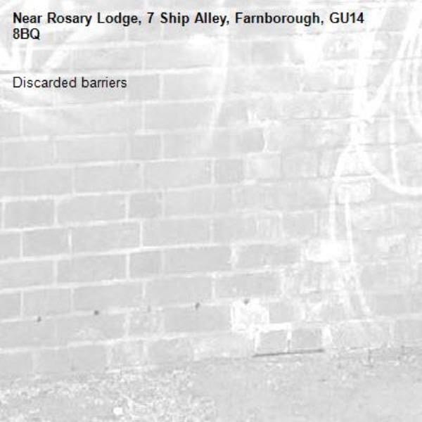 Discarded barriers-Rosary Lodge, 7 Ship Alley, Farnborough, GU14 8BQ