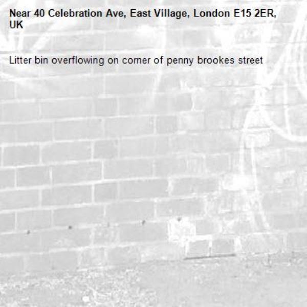 Litter bin overflowing on corner of penny brookes street-40 Celebration Ave, East Village, London E15 2ER, UK