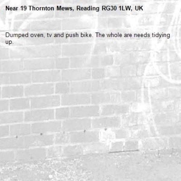 Dumped oven, tv and push bike. The whole are needs tidying up.-19 Thornton Mews, Reading RG30 1LW, UK