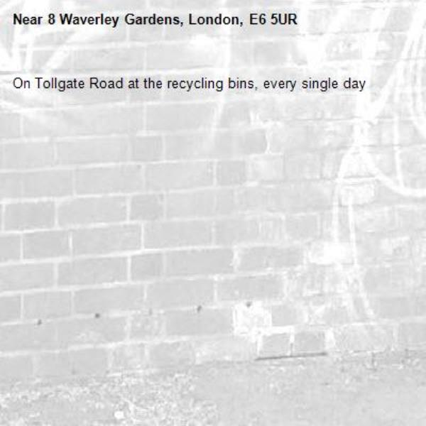 On Tollgate Road at the recycling bins, every single day -8 Waverley Gardens, London, E6 5UR