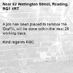 A job has been placed to remove the Graffiti, will be done within the next 28 working days.  Kind regards RBC  -82 Watlington Street, Reading, RG1 4RT