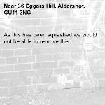 As this has been squashed we would not be able to remove this. -36 Eggars Hill, Aldershot, GU11 3NG