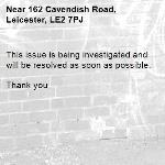 This issue is being investigated and will be resolved as soon as possible.   Thank you -162 Cavendish Road, Leicester, LE2 7PJ