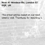 The street will be swept on our next weekly visit. Thankyou for reporting it.-45 Windsor Rd, London E7 0QX, UK
