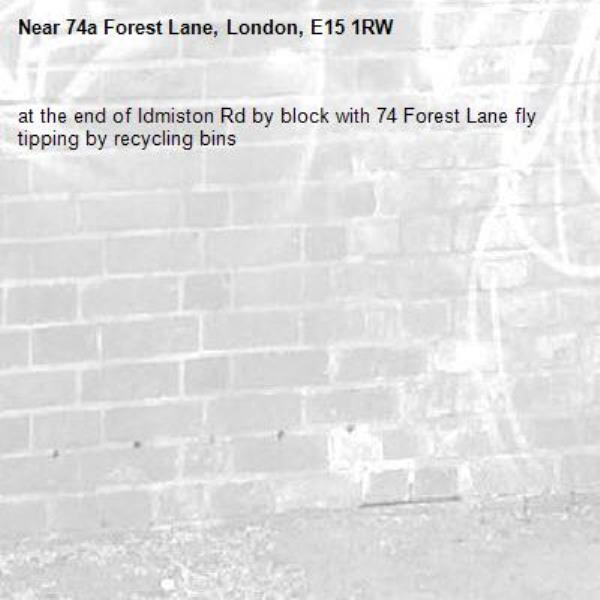 at the end of Idmiston Rd by block with 74 Forest Lane fly tipping by recycling bins-74a Forest Lane, London, E15 1RW