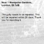 The gully needs to be repaired. This will be repaired within 28 days. Thank you for reporting it.-1 Montpelier Gardens, London, E6 3JB