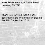 Thank you for your report, I can confirm that the fly tip was cleared on the 11th September 2019.-Tricia House, 5 Tudor Road, London, E9 7FE