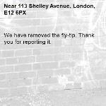 We have removed the fly-tip. Thank you for reporting it.-113 Shelley Avenue, London, E12 6PX