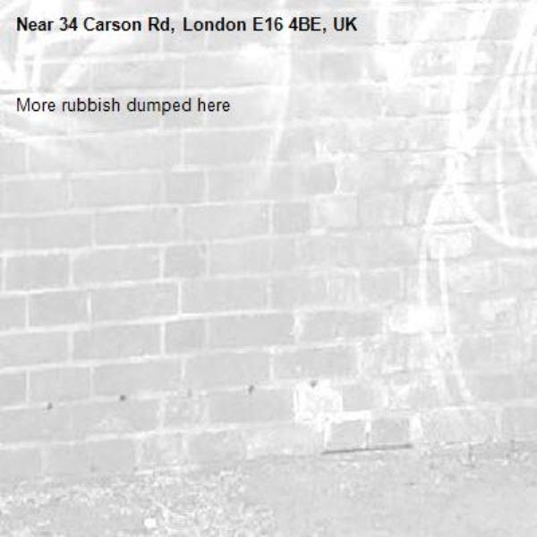 More rubbish dumped here -34 Carson Rd, London E16 4BE, UK