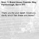 Thank you for your report. Could you clarify which flats these are please? -75 Brand House Coombe Way, Farnborough, GU14 7FT
