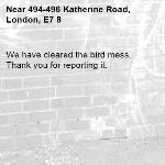 We have cleared the bird mess. Thank you for reporting it.-494-496 Katherine Road, London, E7 8