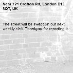 The street will be swept on our next weekly visit. Thankyou for reporting it.-121 Crofton Rd, London E13 8QT, UK
