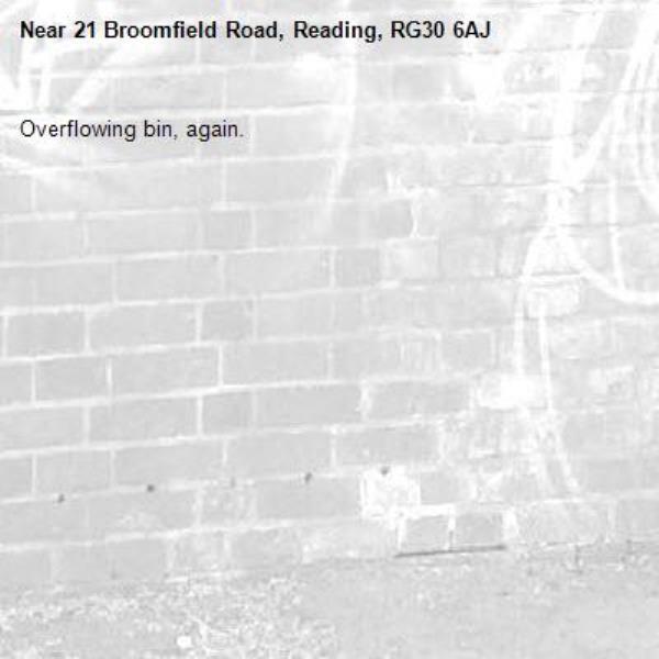 Overflowing bin, again.-21 Broomfield Road, Reading, RG30 6AJ