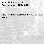 This has been removed by our Streets team -63 Boundary Road, Farnborough, GU14 6SU