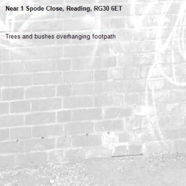 Trees and bushes overhanging footpath-1 Spode Close, Reading, RG30 6ET