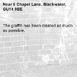 The graffiti has been cleared as much as possible.-6 Chapel Lane, Blackwater, GU14 9BE