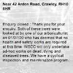Enquiry closed : Thank you for your enquiry. Both of these trees were looked at by one of our arboriculturist on 01/07/20 who has deemed that no health and safety works are required at this time. WSCC will only undertake ad-hoc works on dead, dying and diseased trees. We have a cyclical inspection and maintenance programme for highway trees. Further information can be found in section 2 of the following link:- https://www.westsussex.gov.uk/roads-and-travel/maintaining-roads-verges-and-pavements/road-and-roadside/tree-and-hedge-maintenance/ Regards, WSCC.-42 Arden Road, Crawley, RH10 6HR