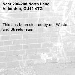 This has been cleared by our Waste and Streets team -206-208 North Lane, Aldershot, GU12 4TG