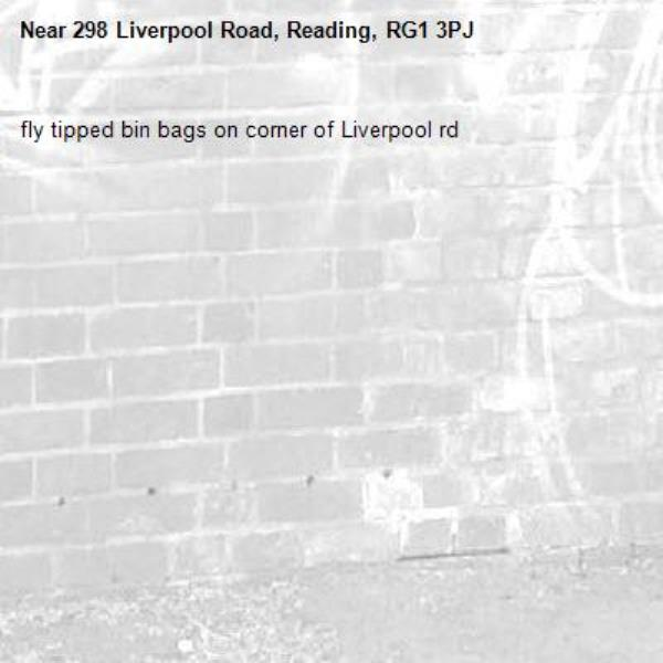 fly tipped bin bags on corner of Liverpool rd-298 Liverpool Road, Reading, RG1 3PJ