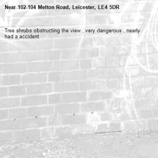 Tree shrubs obstructing the view , very dangerous , nearly had a accident -102-104 Melton Road, Leicester, LE4 5DR