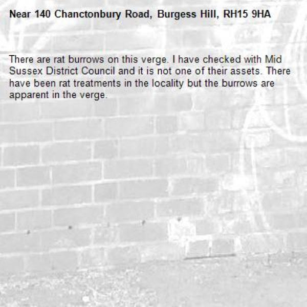 There are rat burrows on this verge. I have checked with Mid Sussex District Council and it is not one of their assets. There have been rat treatments in the locality but the burrows are apparent in the verge.-140 Chanctonbury Road, Burgess Hill, RH15 9HA