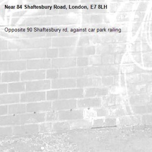 Opposite 90 Shaftesbury rd, against car park railing-84 Shaftesbury Road, London, E7 8LH