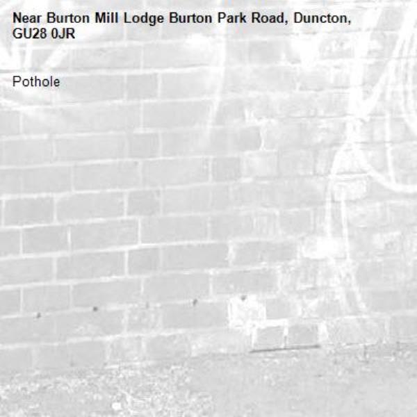 Pothole-Burton Mill Lodge Burton Park Road, Duncton, GU28 0JR